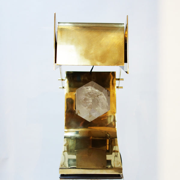 Brass Table Lamp with Rock Crystal