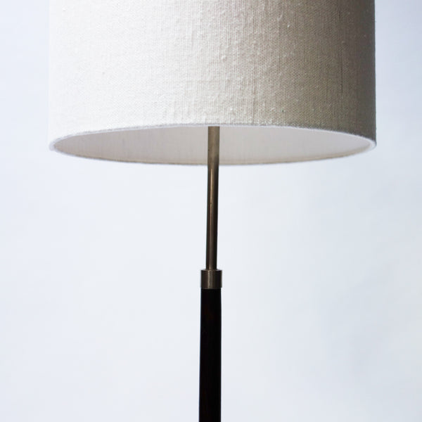 Elegant Steel and Rosewood Floor Lamp