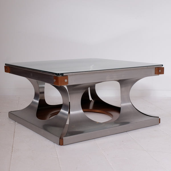 Curved aluminum coffee table
