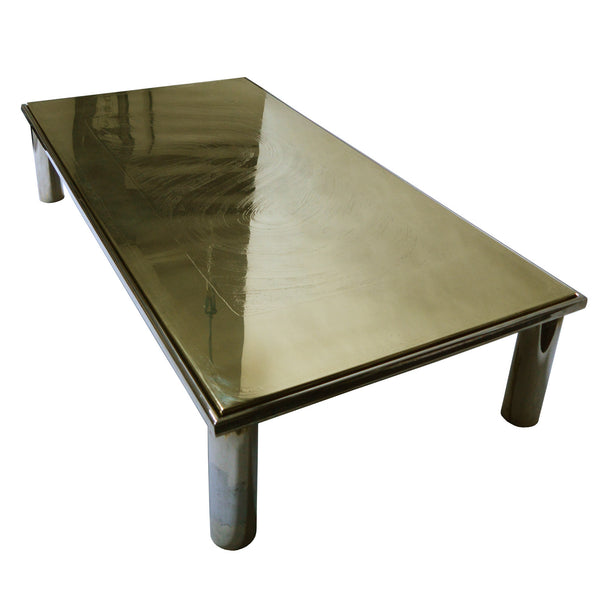 Large coffee table with etched brass table top by Christian Heckscher