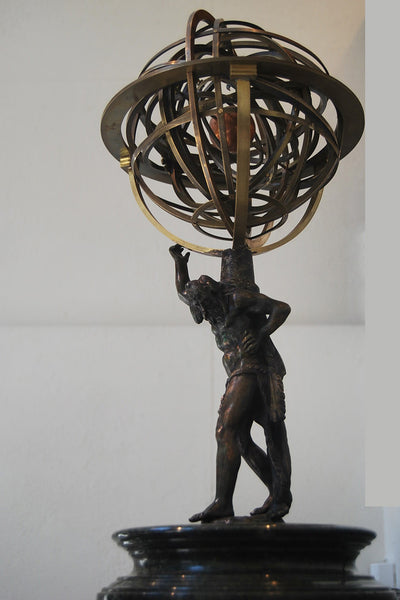 Bronze sculpture of Atlas carrying an armilary sphera