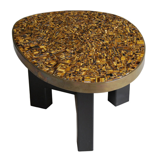 Tiger's eye stone side table by Ado Chale