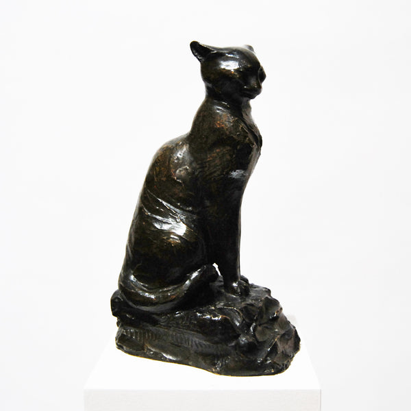 Bronze Cat Sculpture by Jules Jourdain