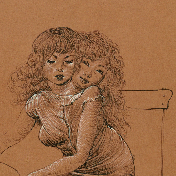 Two-headed young girl (simple balloon) drawing by Hans Bellmer