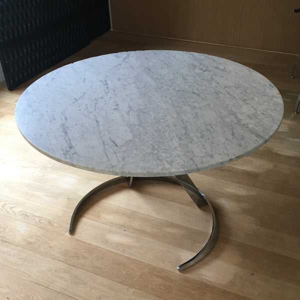 Circular Dining Table with Chrome Pedestal and Marble Tabletop by Boris Tobacoff
