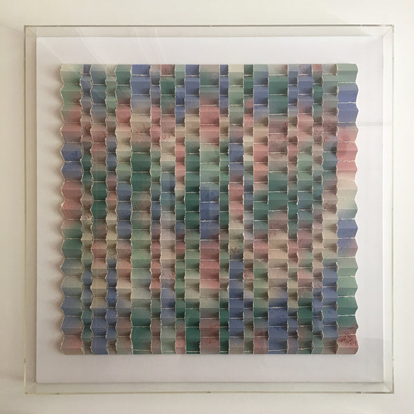 Abstract paper collage by JoAnne Casey, framed, 1988