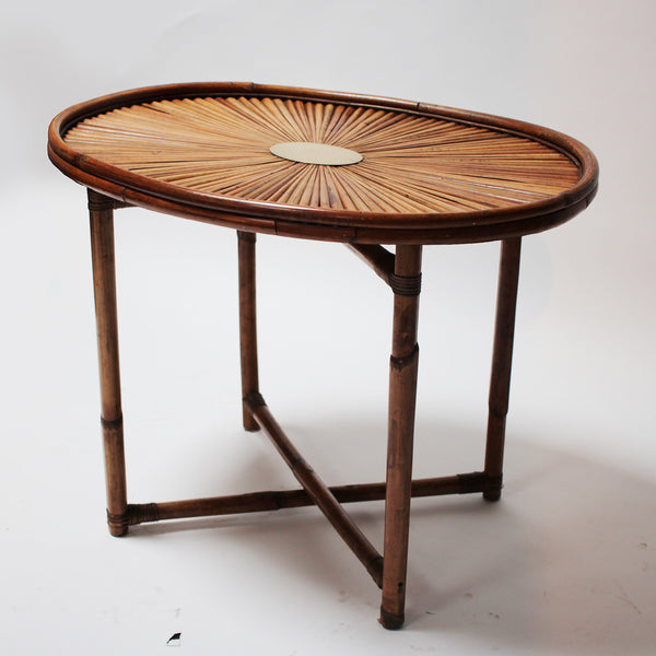 Ovoidal bamboo side table by Gabriella Crespi