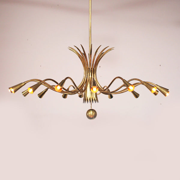 Sixteen-Arm Brass Chandelier in the Style of Guglielmo Ulrich