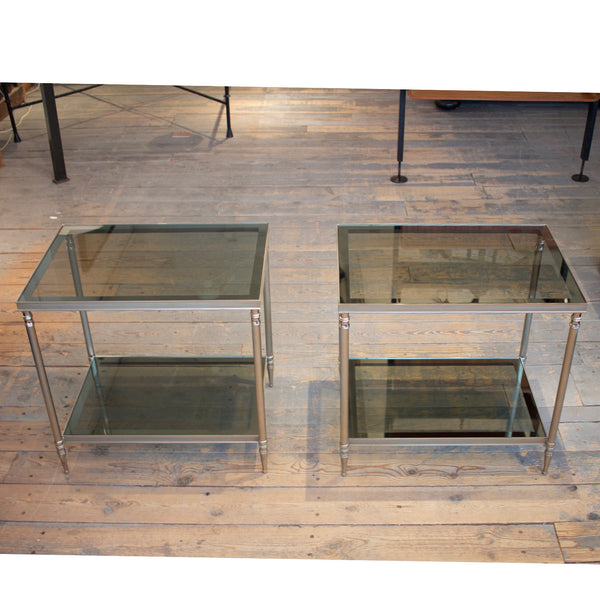 Pair of French End Tables with Smoked Glass