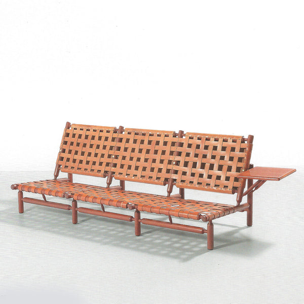Bench with side tablet by Ilmari Tapiovaara