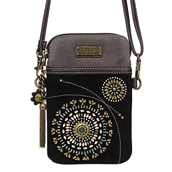 3b0b6a931cfb Chala Crossbody Cell Phone Purse-Women PU Leather Multicolor Handbag with  Adjustable Strap - Starburst - Black