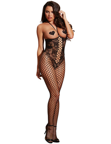 Open Cup Lace And Fishnet Bodystocking