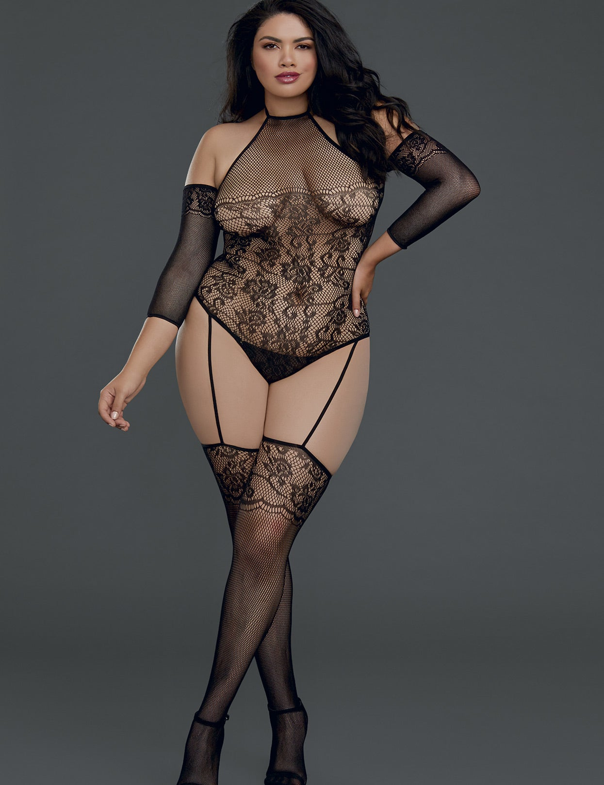 8ba60247ce Plus Size Cold Shoulder Lace Net Bodystocking – just damn sexy