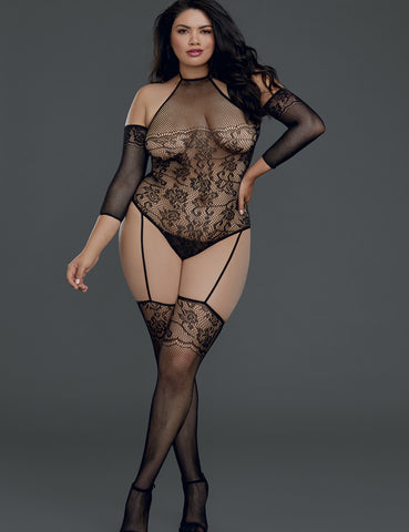 Plus Size Cold Shoulder Lace Net Bodystocking