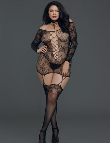Plus Size Versatile Lace Garter Dress