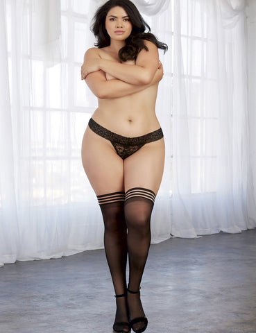 Plus Size Striped Sheer Thigh High Stockings