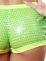 Shiny Mesh Derby Shorts