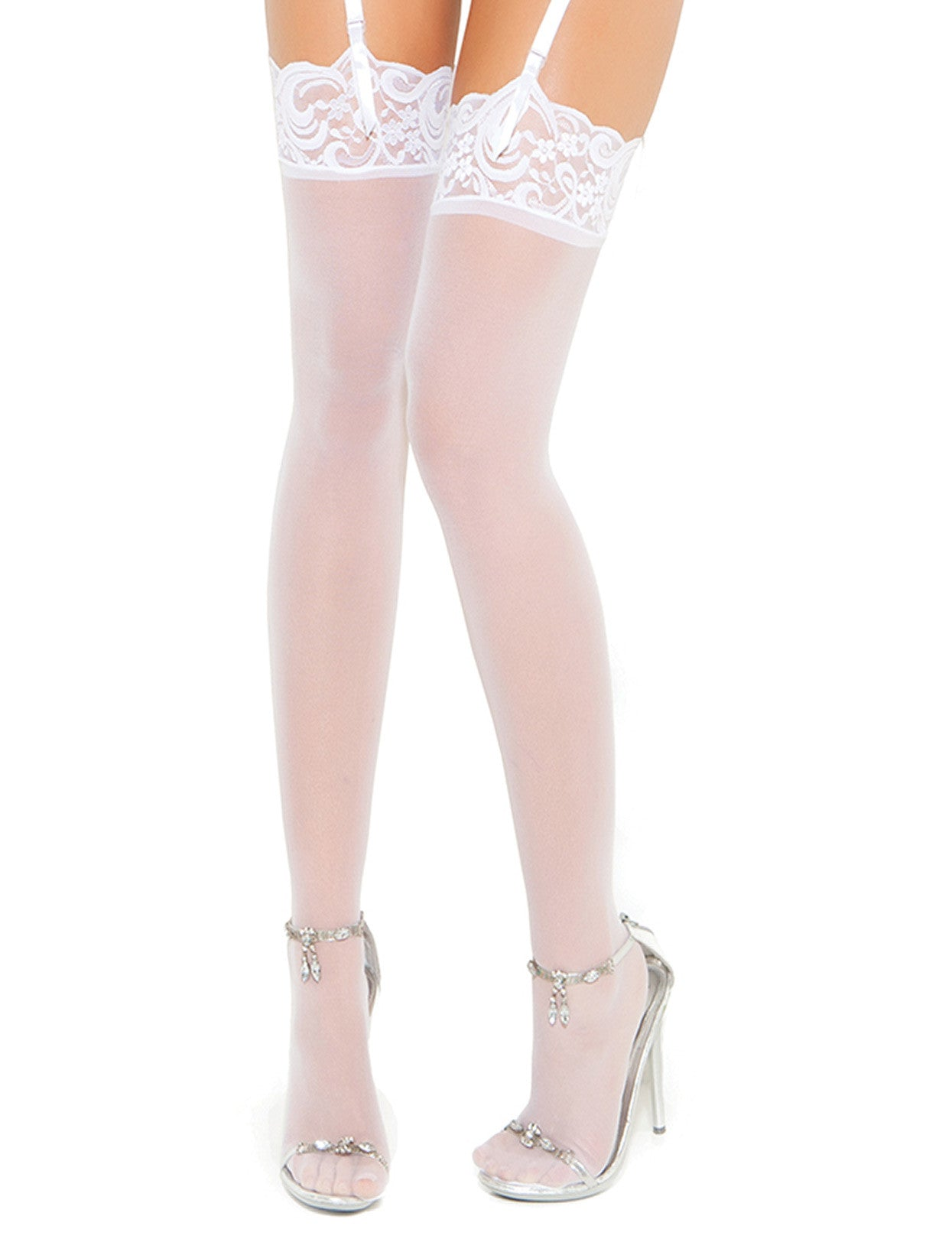 Plus Size Sheer Lace Top Thigh High