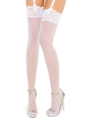 Sheer Lace Top Thigh High
