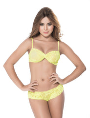 Ruched Lace Bra & Panty Set