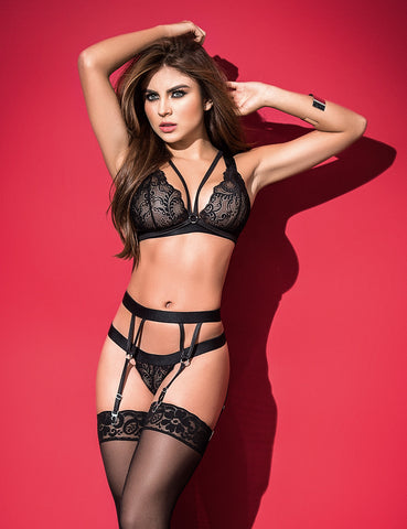 Scalloped Lace Bralette And Cincher Set