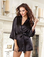 Shalimar Charmeuse Short Kimono Robe Set - just damn sexy  - 3