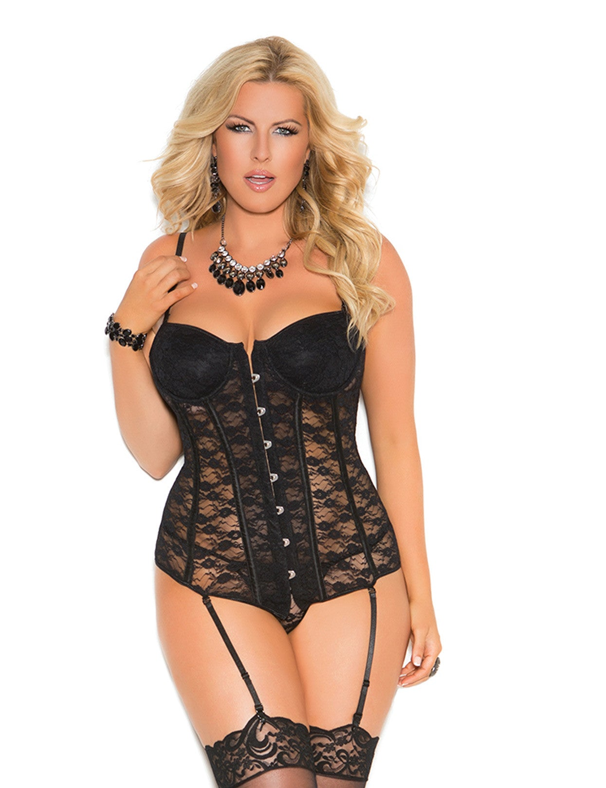 Plus Size Lace Up Lace Bustier