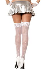 Lace Top Heart Backseam Thigh Hi