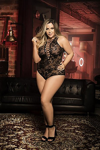 Plus Size Lace-Up Lacey Teddy