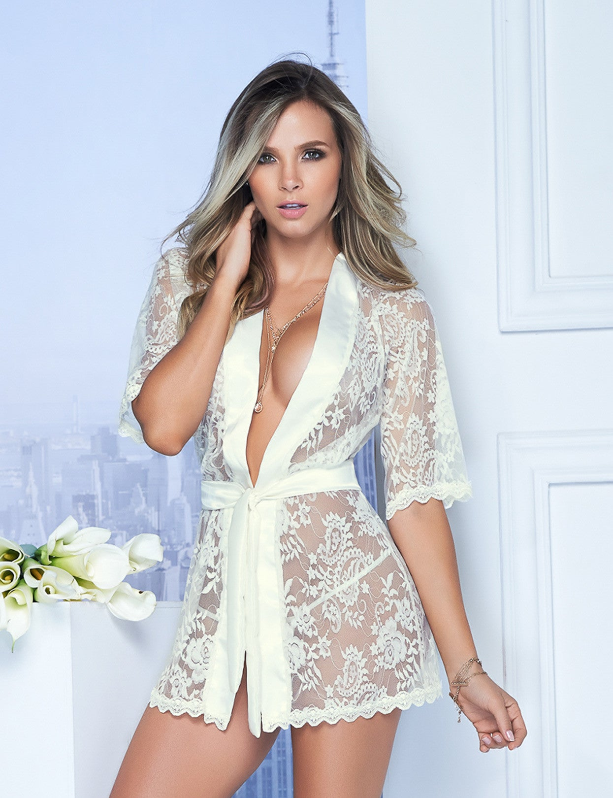 Lace And Satin Robe