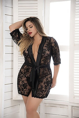 Plus Size Lace And Satin Robe
