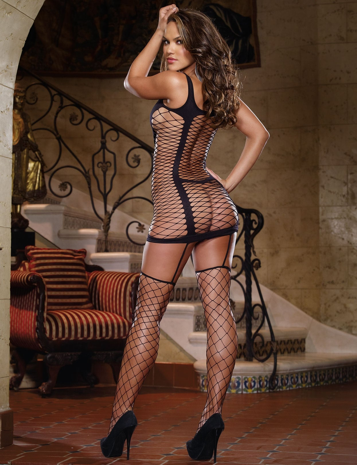Capri Opaque and Fence Net Garter Dress - just damn sexy  - 5