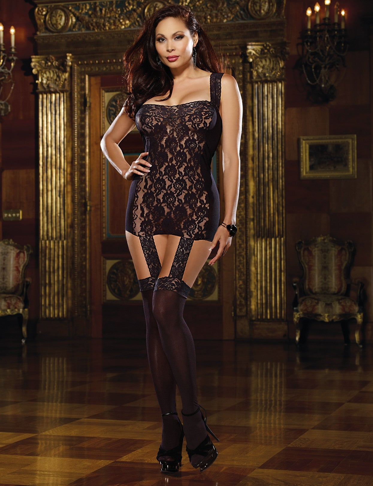 Plus Size Tahiti Hosiery Garter Dress - just damn sexy  - 1