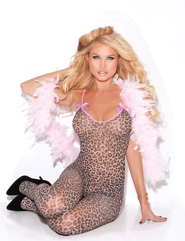 Plus Size Satin Bows Bodystocking