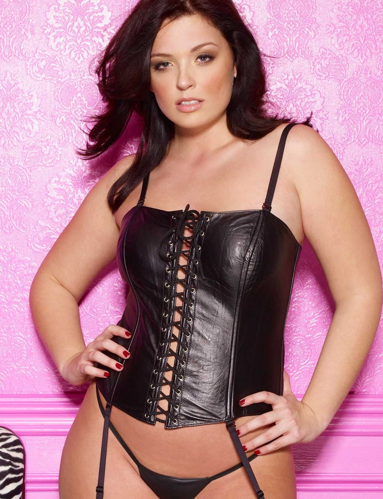 Plus Size Leather Lace Up Corset Set - just damn sexy  - 1