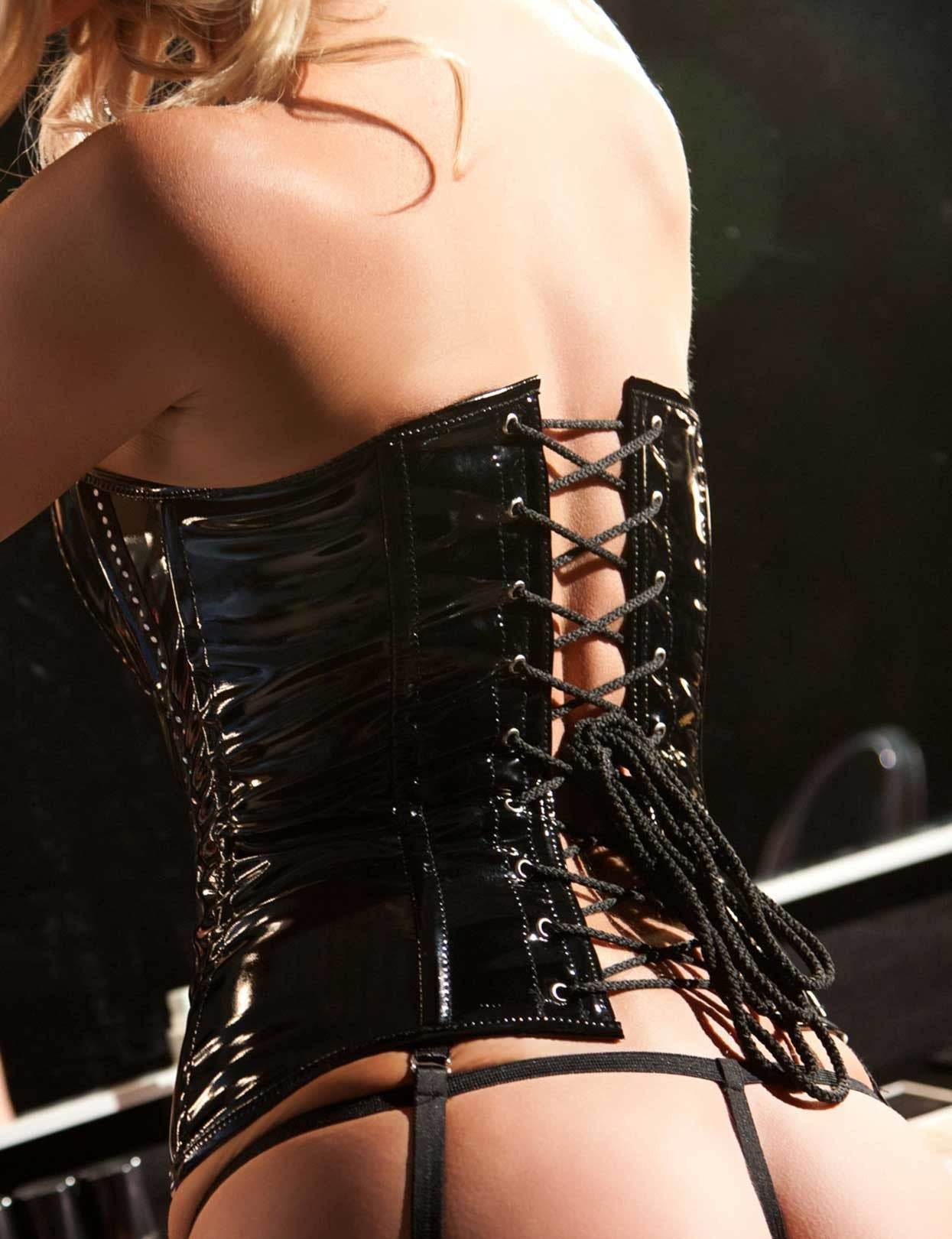 Vinyl and Rhinestone Strapless Corset Set - just damn sexy  - 2