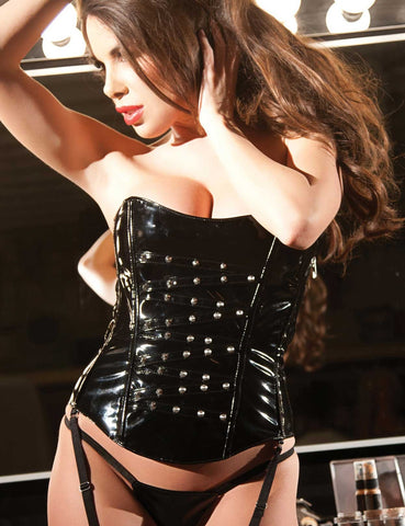 Vinyl Studded Strapless Corset Set