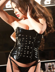 Vinyl Studded Strapless Corset Set - just damn sexy  - 1