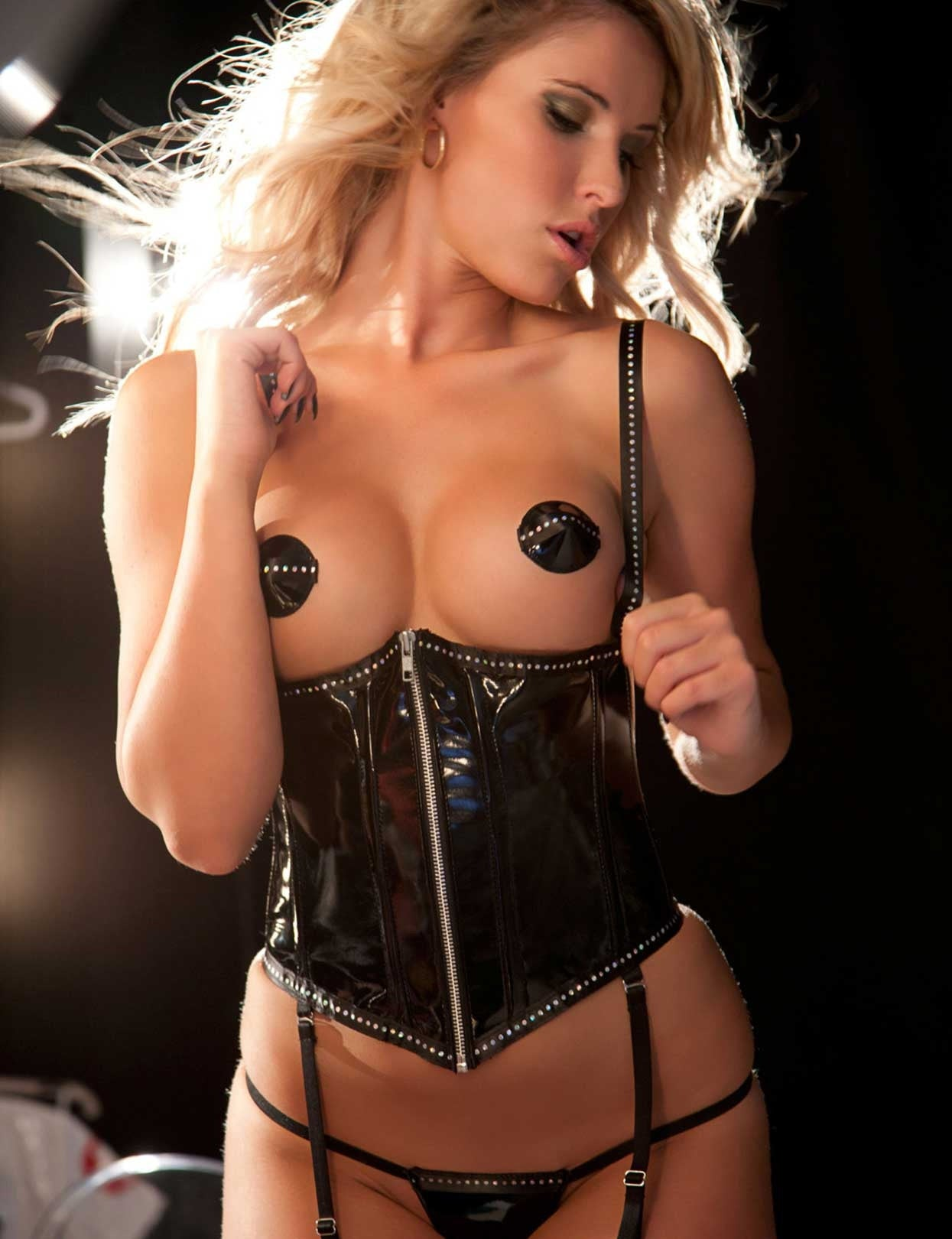 Vinyl and Rhinestone Cupless Corset Set - just damn sexy  - 1