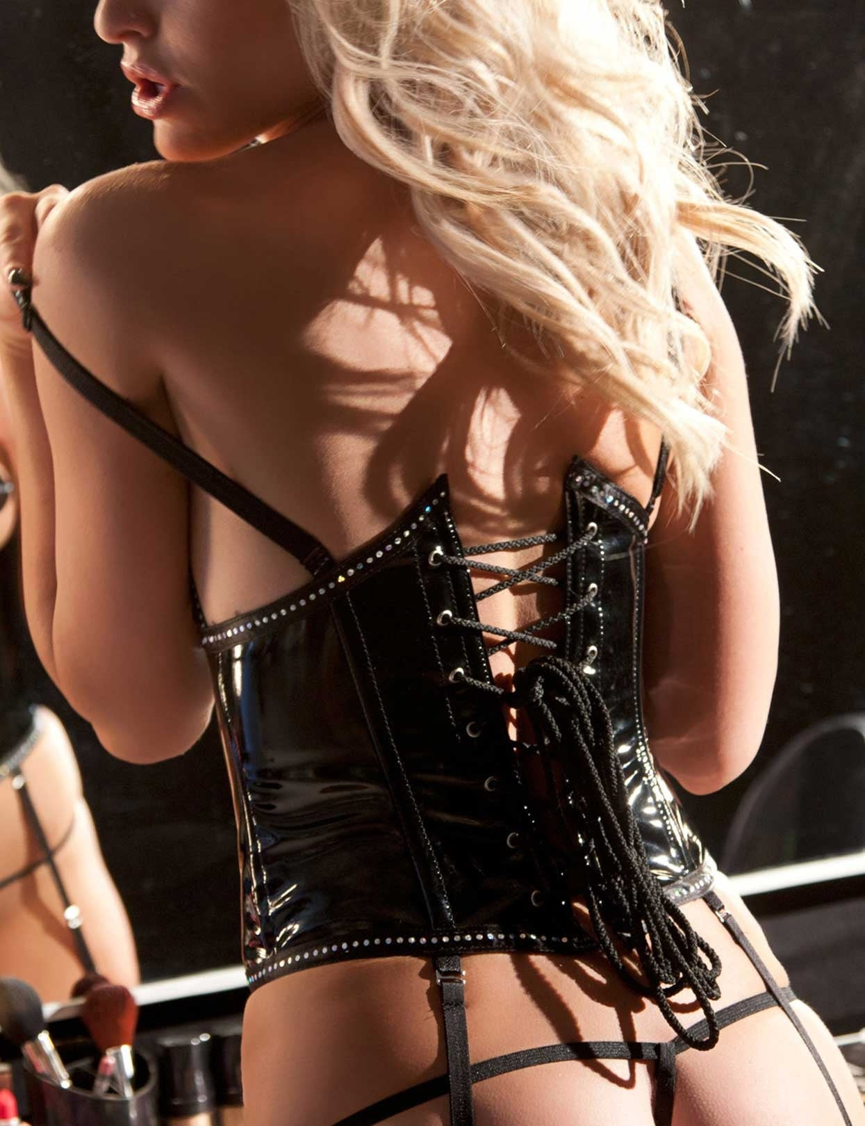 Vinyl and Rhinestone Cupless Corset Set - just damn sexy  - 2