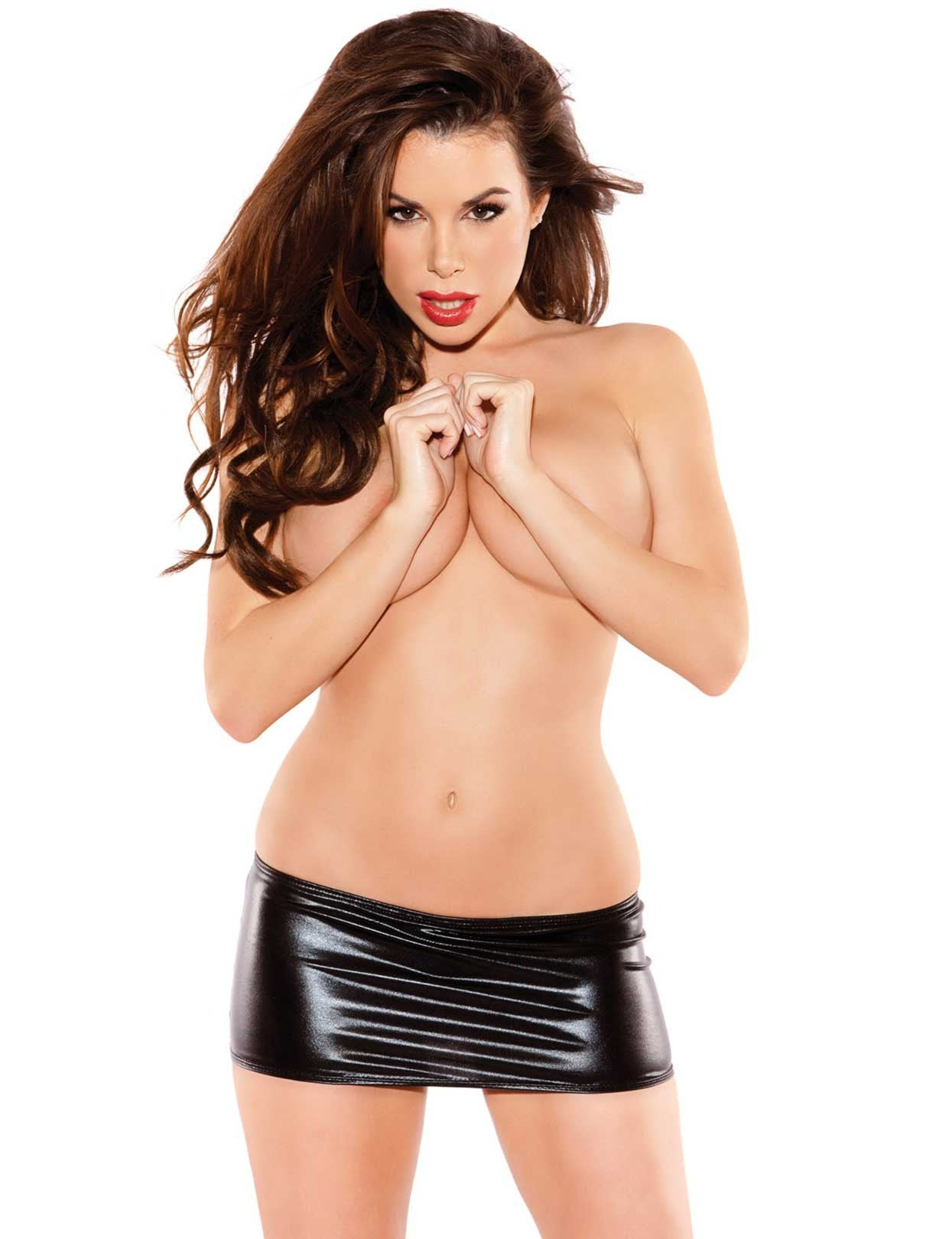 Naughty Kitten Vinyl Mini Skirt - just damn sexy  - 1