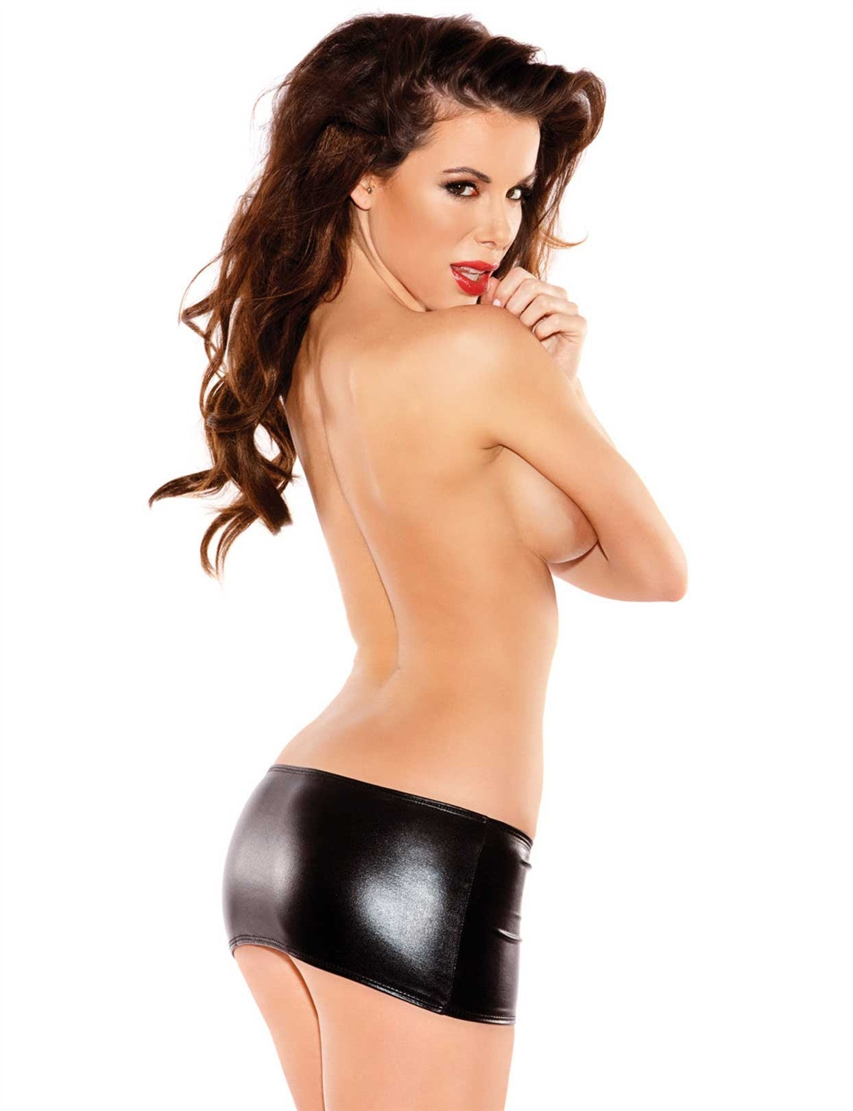 Naughty Kitten Vinyl Mini Skirt - just damn sexy  - 2