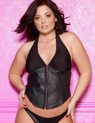 Plus Size Leather and Lycra Bustier
