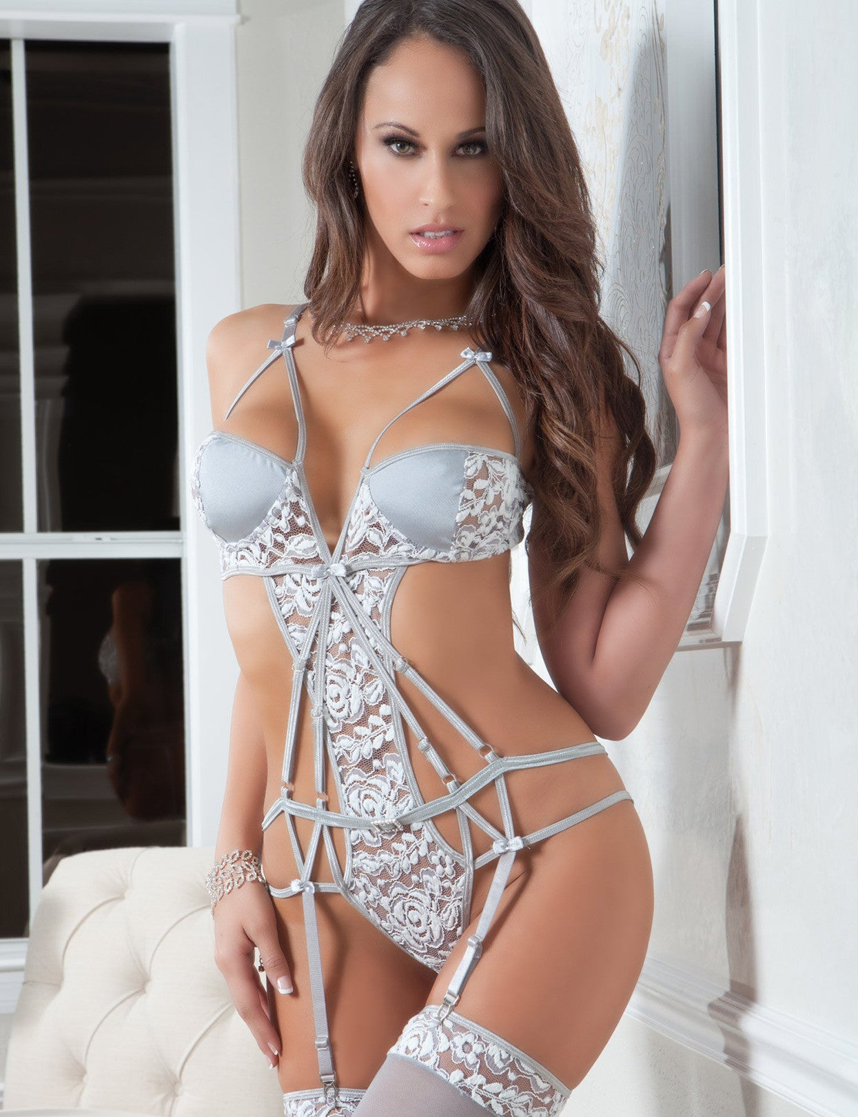 Strappy Chantilly Teddy Set - just damn sexy  - 1