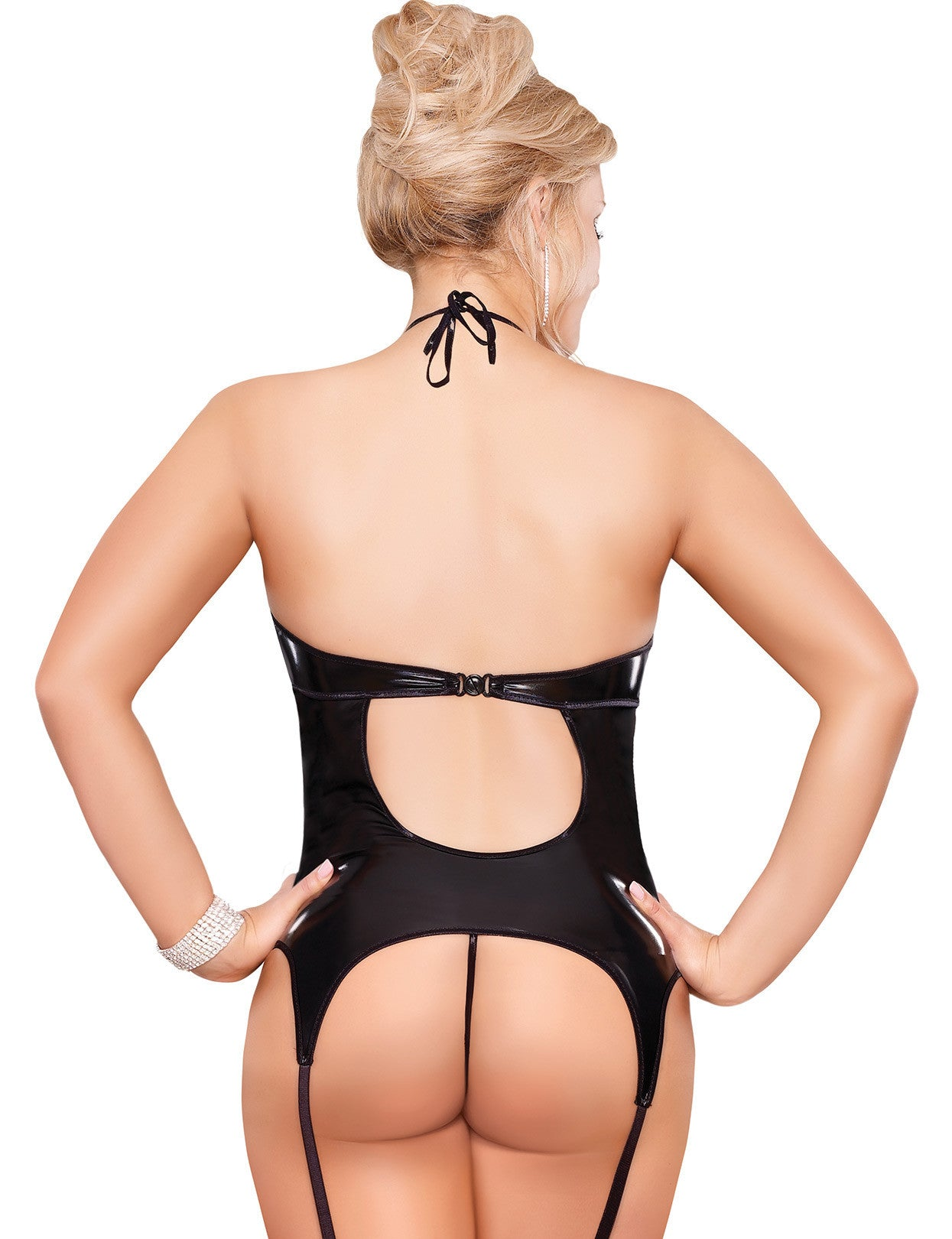 Plus Size Liquid Onyx Double Keyhole Merry Widow and G-string - just damn sexy  - 2