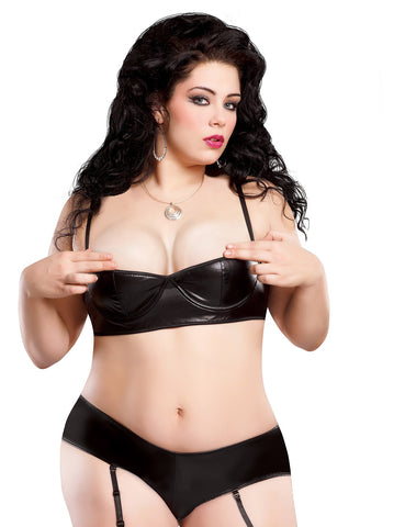 Plus Size Liquid Onyx Half Cup Bra and Gartered Boy Short Set - just damn sexy