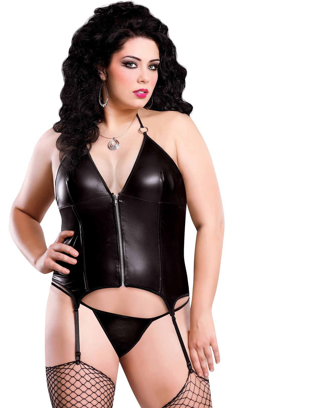 Plus Size Liquid Onyx Zipper Merry Widow Corset and G-string - just damn sexy