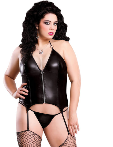 Plus Size Liquid Onyx Zipper Merry Widow Corset and G-string