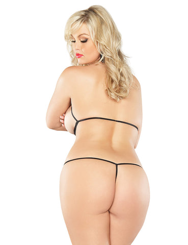 Plus Size Mesh Cupless and Crotchless Teddy