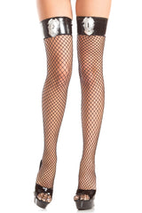 Police Fishnet Thigh Highs